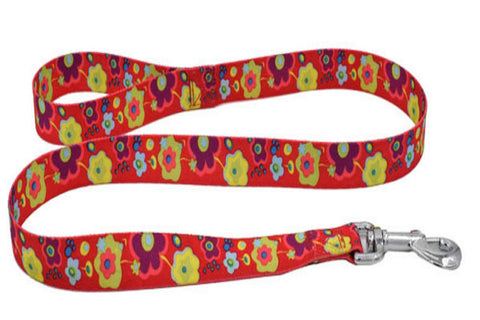 dogestyles-red-floral-nylon-dog-leash