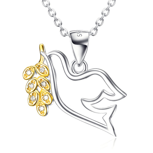 Peace Dove Pendant Gold Plated Necklace Female Micro Inlay