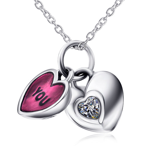 Ladies Simple Fashion 925 Heart Pendant Necklace