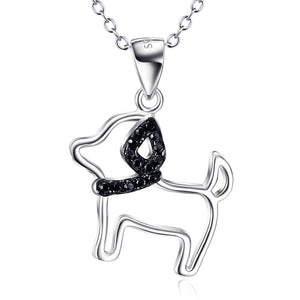 Dog Hollow Out Pendant 925 Silver Necklace