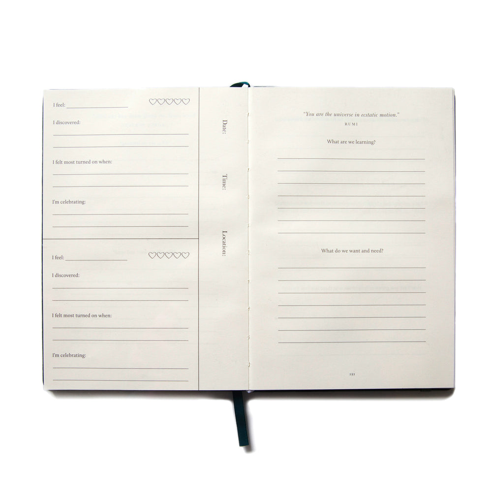 An empty journal spread in A Sex Journal, a book for couples.