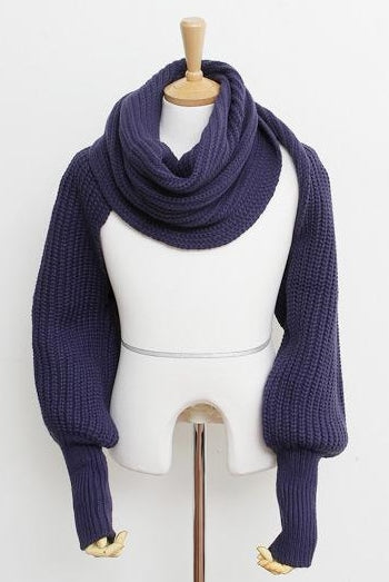 Knitted Super Soft Wrap Scarf with Sleeves