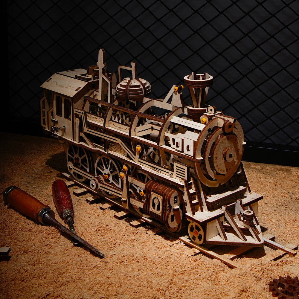 Premium Wooden Mechanical Train Locomotive Building Kit