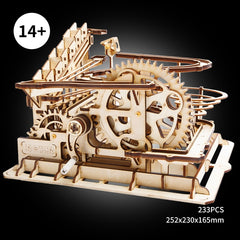 Wooden Marble Run Mechanical Factory Building Kit