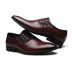 English Lace-Up Leather Dress Shoes (Dark Brown)