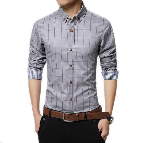 English Roll-Up Plaid Shirt (Grey)