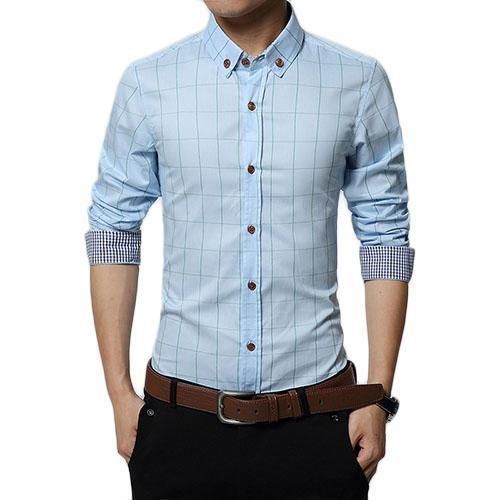 English Roll-Up Plaid Shirt (Light Blue)