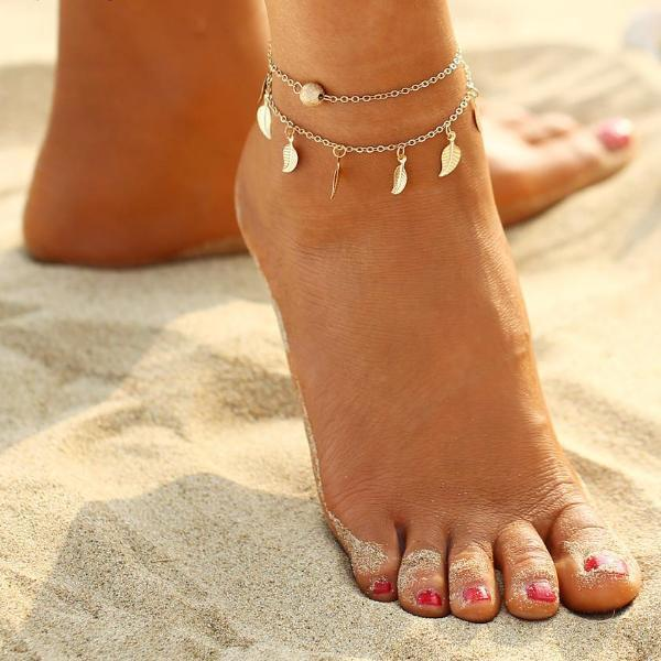 Golden Summer Leaves Anklet