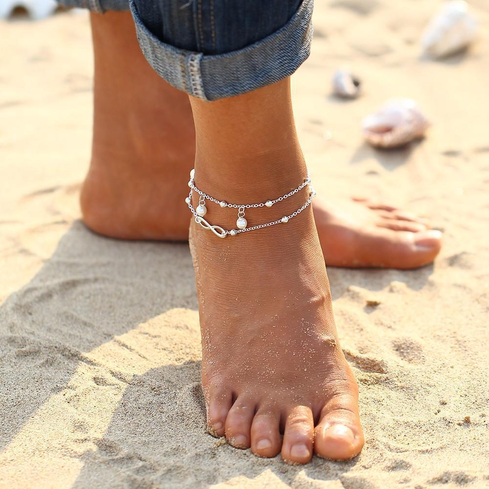 Silver Star Infinity Charm Anklet