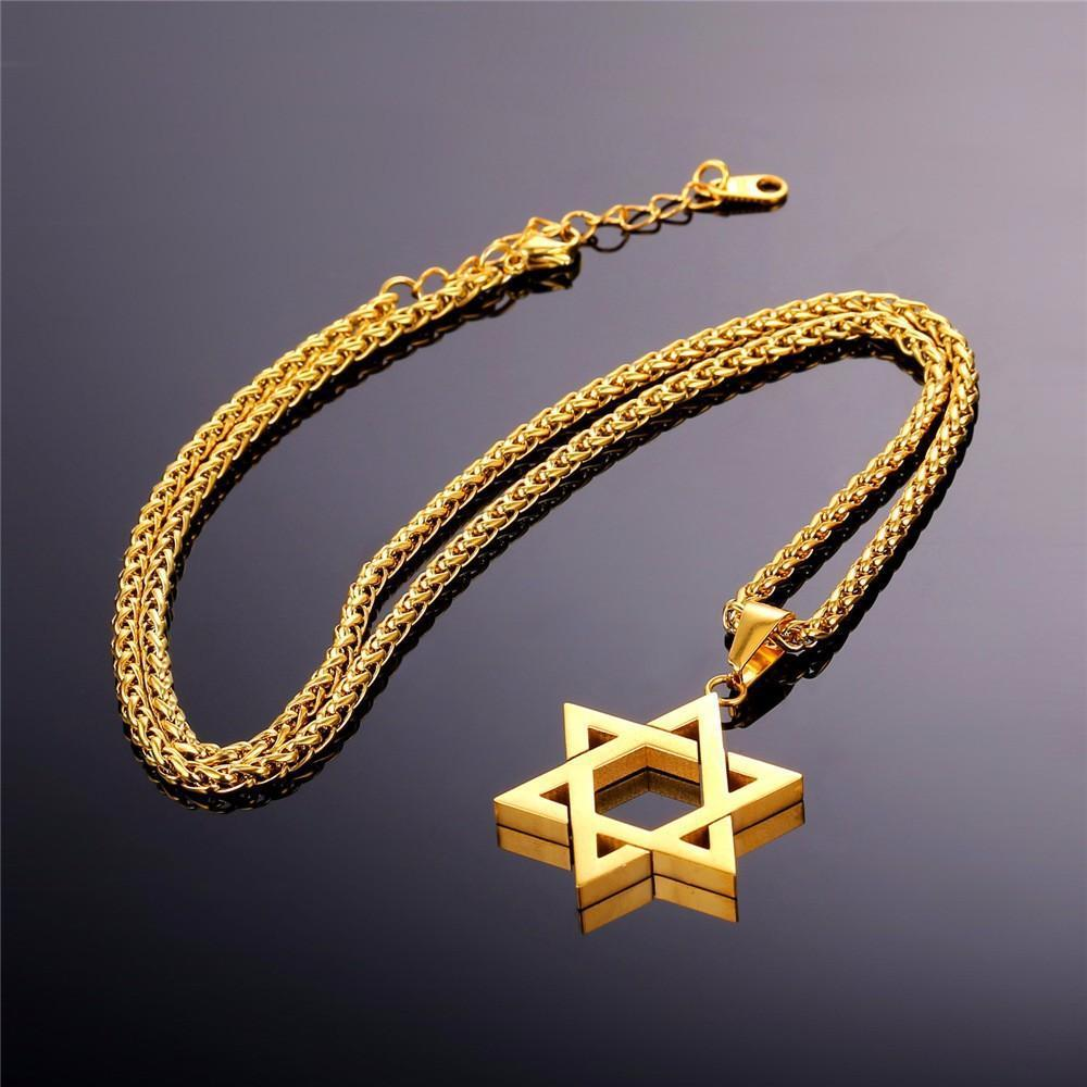 Golden Jewish Magen Star of David Pendant Necklace