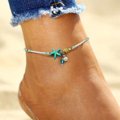 Beach Starfish Seashells Anklet
