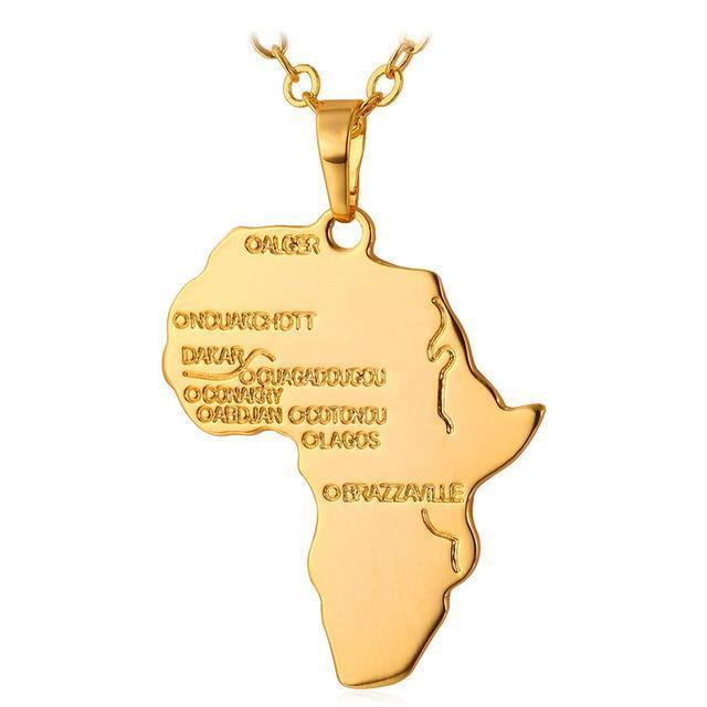 Golden African Map Pendant Necklace
