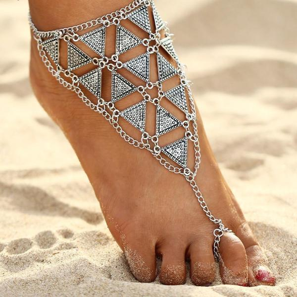 Barefoot Silver Triangular Anklet Chains