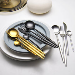 Modern Jet Black Stainless Steel Cutlery Set