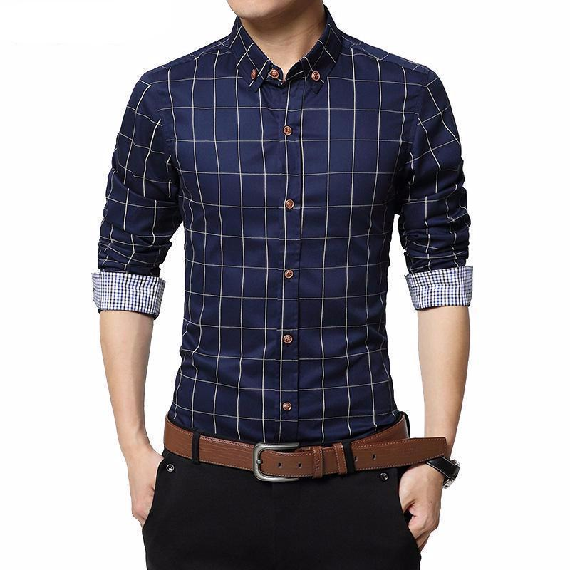 English Roll-Up Plaid Shirt (Dark Blue)