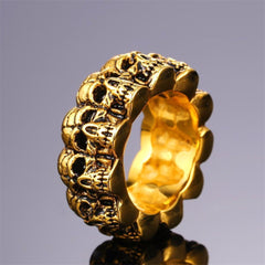 Golden Rock Skull Faces Ring