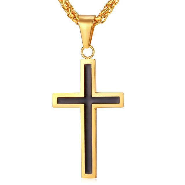 Golden Cross Enamel Pendant Necklace