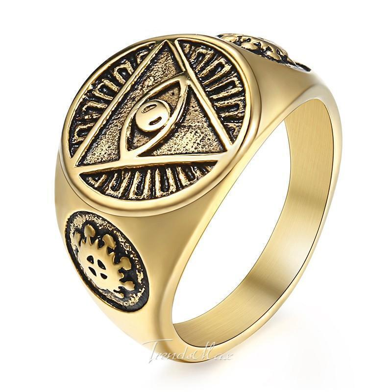 Golden Illuminati Pyramid Eye Ring