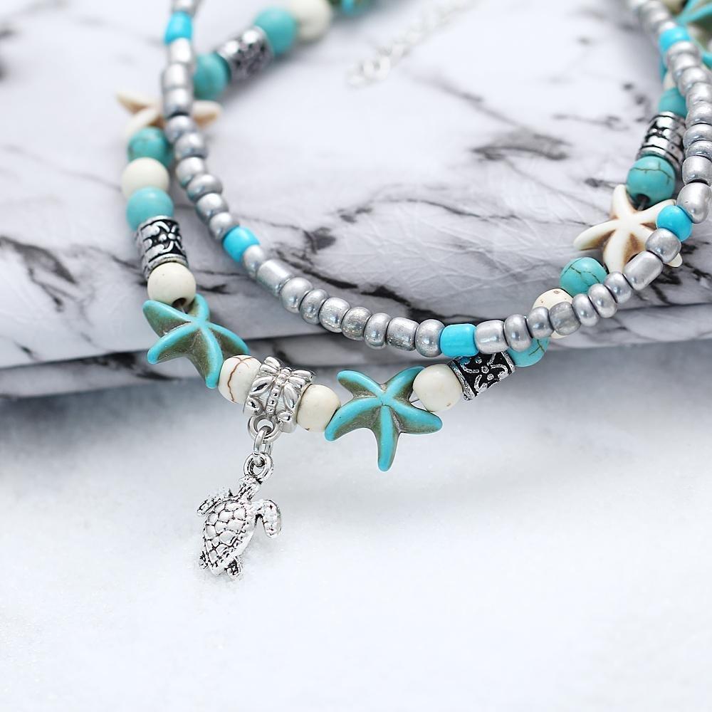 Starfish Aqua Blue Turtle Anklet