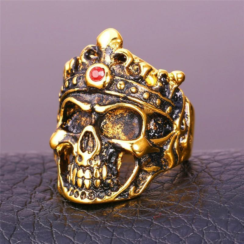 Golden Gothic Skull Ring