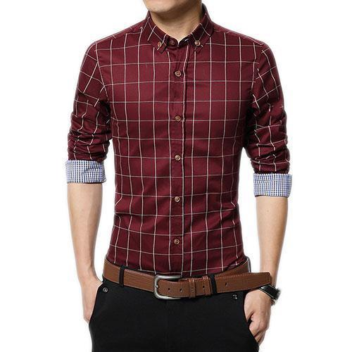 English Roll-Up Plaid Shirt (Red)