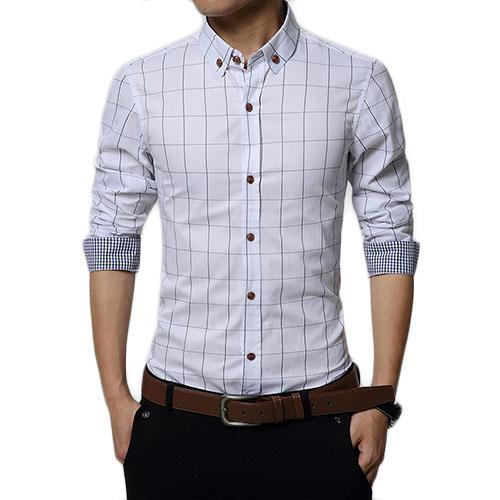 English Roll-Up Plaid Shirt (White)