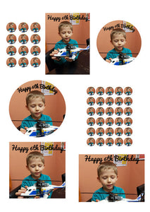 Personalised Photo/Design Cake/Cupcake Toppers, Multiple sizes, Birthdays, A3