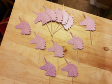 Unicorn Cupcake Picks, Toppers, 180 gsm Glitter Card, Various Colours