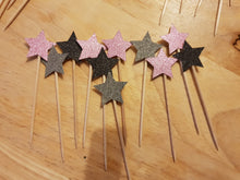 Star Cupcake Picks, Toppers, 180 gsm Glitter Card, Birthdays, Christmas