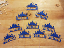 Fortnite Cupcake Picks, Toppers, Gaming, 180 gsm Glitter Card, Various Colours
