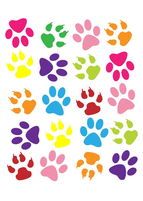 Paw Prints cake and Cupcake toppers, 20 Paws, Multicoloured, Birthdays, Christmas, Easter