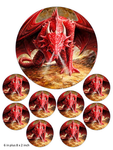 Red Dragon Cake and Cupcake Toppers, Mystic Fantasy, Fire Breathing, Birthday