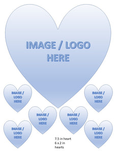 Personalised Photo/Design Heart Cake And Cupcake Toppers, Birthdays