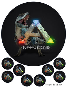 ARK Logo Cake and Cupcake Toppers, Gaming, Xbox, PS4, Dinosaurs, Survival Evolved
