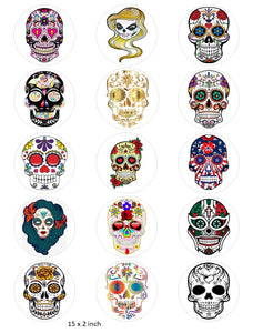 Candy Skull Cake and Cupcake Toppers, Halloween, Birthday, Sugar Skulls, Mexican IM3