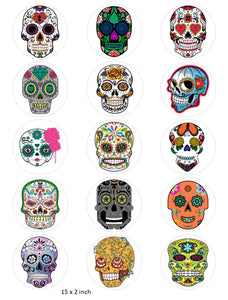 Candy Skull Cake and Cupcake Toppers, Halloween, Birthday, Sugar Skulls, Mexican IM4