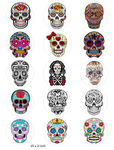 Candy Skull Cake and Cupcake Toppers, Halloween, Birthday, Sugar Skulls, Mexican IM5