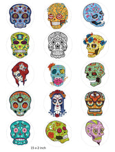 Candy Skull Cake and Cupcake Toppers, Halloween, Birthday, Sugar Skulls, Mexican IM6