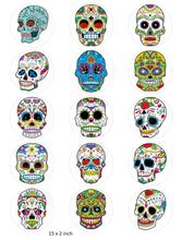 Skull Cake and Cupcake Toppers, Halloween, Birthday, Sugar Skulls, Mexican IM7