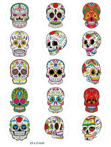 Skull Cake and Cupcake Toppers, Halloween, Birthday, Sugar Skulls, Mexican IM8