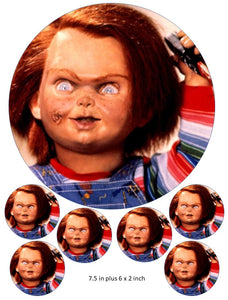 Chucky Cake and Cupcake Toppers, Halloween, Birthdays, Horror, Original