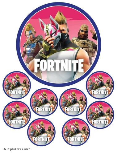 Fortnite Cake and Cupcake Toppers, Personalised, Gaming, Xbox, PlayStation