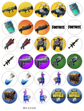 Fortnite Cupcake Toppers, Birthday, Gaming, Xbox , PlayStation, Guns, Chug Jug