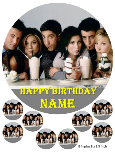 Friends cake and cupcake toppers, Personalised, Central Perk, Monica, Joey, Ross