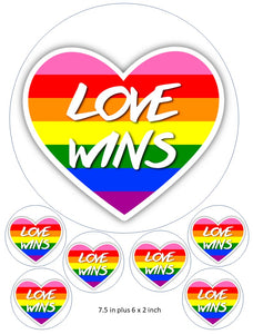 Heart cake and cupcake toppers, Love Wins, Drag Race , Gay Pride, LGBT, Birthdays, Rainbow