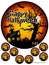 Happy Halloween Cake and Cupcake Toppers, Halloween, Haunted House, Pumpkin