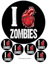 I Love Zombies Cake and Cupcake Toppers, Halloween, Birthdays, Heart, Horror