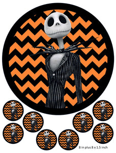 Jack Cake and Cupcake Toppers, Pumpkin King Halloween, Birthdays, Christmas, Party