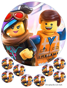 Lego Movie Cake and Cupcake Toppers, Emmet, Lucy, Batman, Benny, Robin