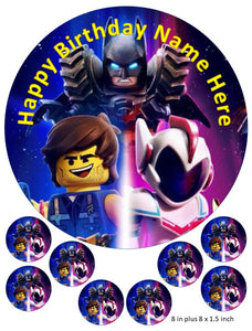 Lego Movie Cake and Cupcake Toppers, Personalised, Emmet, Lucy, Batman, Benny, Robin